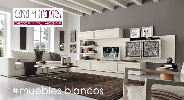 Muebles blancos casa y mantel for Color de pared para muebles blancos