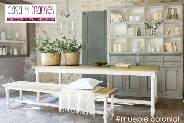 Muebles coloniales casa y mantel for Muebles coloniales blanco