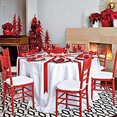Mesas de Navidad mantles combinando Rojo y Blanco Isla Mueble