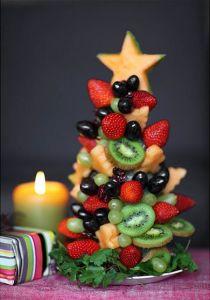 Arbol de frutas postre manteles de Navidad