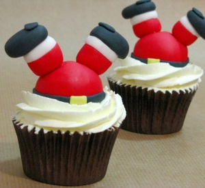 Cupcakes Papa Noel mantel de Navidad manteles de Navidad Don Mantel