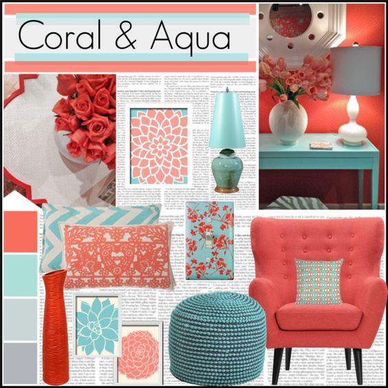 Turquesa y coral combinaci n ideal casa y mantel - Coral paint color for living room ...